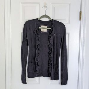 Abercrombie & Fitch Navy Blue Ruffle Long Cardigan